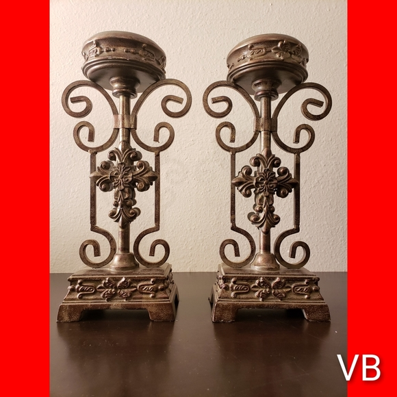 Decorative Metal Candle Holders Set of 2.